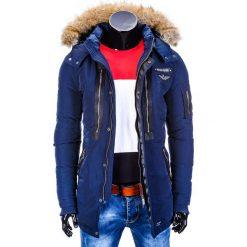 KURTKA MĘSKA ZIMOWA PARKA C306 - GRANATOWA. Niebieskie kurtki męskie zimowe marki Ombre Clothing, m, z futra. Za 109,00 zł.