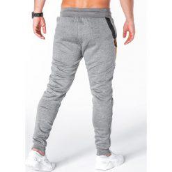 SPODNIE MĘSKIE DRESOWE P660 - SZARE. Czarne spodnie dresowe męskie marki Ombre Clothing, m, z bawełny, z kapturem. Za 69,00 zł.