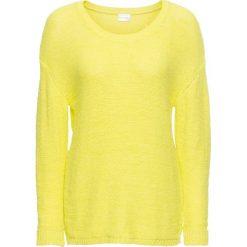 Swetry damskie: Sweter z przędzą tasiemkową bonprix zielona limonka