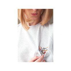Bluza raglan kieszonka kotek złośnik. Szare bluzy damskie One mug a day, s, z aplikacjami, z bawełny. Za 139,00 zł.