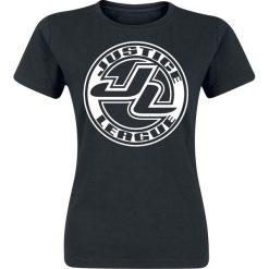 Justice League Logo Koszulka damska czarny. Czarne bluzki damskie Justice League, l, z nadrukiem, z okrągłym kołnierzem. Za 29,90 zł.