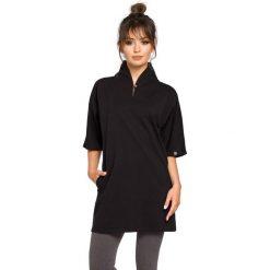 Bluzki, topy, tuniki: Czarna Tunika Kimonowa z Wysokim Kołnierzem
