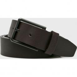 Calvin Klein - Pasek skórzany. Czarne paski męskie marki Calvin Klein, w paski, z materiału. Za 279,90 zł.