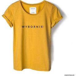 Bluzki, topy, tuniki: T-shirt musztardowy WYBORNIE!