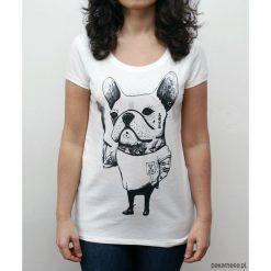 Koszulka damska z Buldogiem Francuskim tatuaże. Szare bluzki na imprezę marki Pakamera. Za 79,00 zł.