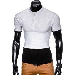 T-shirty męskie z nadrukiem: T-SHIRT MĘSKI BEZ NADRUKU S875 – SZARY/CZARNY