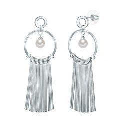 Kolczyki damskie: Posrebrzane kolczyki-wkrętki z perłami muszlowymi