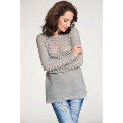 Swetry damskie: Szary Sweter z Transparentnymi Paskami
