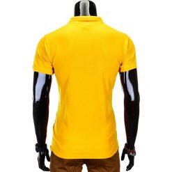 KOSZULKA MĘSKA POLO BEZ NADRUKU S715 - ŻÓŁTA. Żółte koszulki polo Ombre Clothing, m, z nadrukiem, z materiału. Za 39,00 zł.