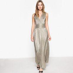 Długie sukienki: Długa błyszcząca sukienka z dekoltem zapinanym na zamek błyskawiczny