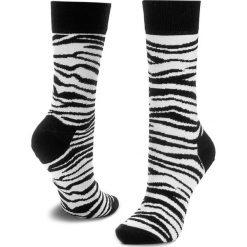 Skarpety Wysokie Unisex HAPPY SOCKS - ZEB01-1000 Biały Czarny. Białe skarpetki męskie Happy Socks, z bawełny. Za 34,90 zł.
