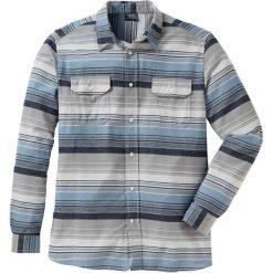 Koszula flanelowa Regular Fit bonprix szaro-niebieski w paski. Szare koszule męskie na spinki bonprix, l, w paski. Za 69,99 zł.