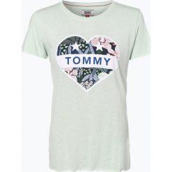 Tommy Jeans - T-shirt damski, zielony. Szare t-shirty damskie marki Tommy Jeans, l, z dzianiny, z podwyższonym stanem, dopasowane. Za 119,95 zł.