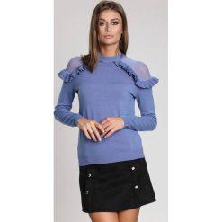 Niebieski Sweter Angels Fringes. Niebieskie swetry klasyczne damskie other, na jesień, l. Za 89,99 zł.