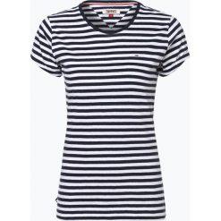 T-shirty damskie: Tommy Jeans – T-shirt damski z dodatkiem lnu, niebieski
