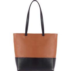 Torebki klasyczne damskie: Skórzana torebka w kolorze brązowo-czarnym – (W)30 x (G)10 cm