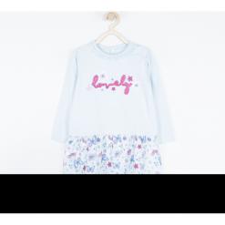 Sukienka. Niebieskie sukienki dziewczęce z falbanami BUTTERFLY, z aplikacjami, z bawełny, z długim rękawem, długie. Za 69,90 zł.
