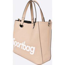 Answear - Torebka. Brązowe torebki klasyczne damskie marki ANSWEAR, w paski, z materiału, duże. W wyprzedaży za 99,90 zł.