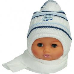 Czapka niemowlęca z szalikiem CZ+S 154E. Szare czapeczki niemowlęce Proman. Za 38,76 zł.