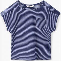 Mango Kids - Top dziecięcy Rayasb 104-164 cm. Szare bluzki dziewczęce bawełniane Mango Kids, z okrągłym kołnierzem, z krótkim rękawem. Za 29,90 zł.