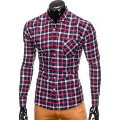 KOSZULA MĘSKA W KRATĘ Z DŁUGIM RĘKAWEM K397 - GRANATOWY/CZERWONY. Czerwone koszule męskie na spinki marki Ombre Clothing, m, z długim rękawem. Za 69,00 zł.