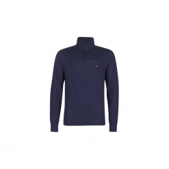 Swetry Tommy Hilfiger  LAMBSWOOL ZIP MOCK. Niebieskie swetry klasyczne męskie TOMMY HILFIGER, l. Za 569,00 zł.