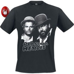 Bud Spencer Oldschool Heroes T-Shirt czarny. Szare t-shirty męskie z nadrukiem marki S.Oliver, l, z bawełny, z włoskim kołnierzykiem, z długim rękawem. Za 114,90 zł.