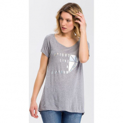 Koszulka w kolorze szarym. Szare t-shirty damskie marki Cross Jeans, m, z wiskozy, z okrągłym kołnierzem. W wyprzedaży za 36,95 zł.