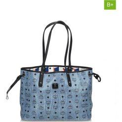 Torebki klasyczne damskie: Skórzana torebka w kolorze niebieskim – 45 x 28 x 14 cm