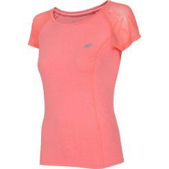 Koszulka treningowa damska TSDF301 - koral melanż. Różowe bluzki z odkrytymi ramionami marki 4f, melanż, z dzianiny. Za 69,99 zł.