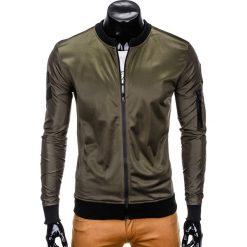 BLUZA MĘSKA ROZPINANA BEZ KAPTURA B749 - KHAKI. Czarne bluzy męskie rozpinane marki Ombre Clothing, m, z bawełny, z kapturem. Za 69,00 zł.