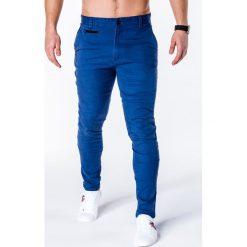 SPODNIE MĘSKIE CHINO P646 - NIEBIESKIE. Niebieskie chinosy męskie Ombre Clothing, z bawełny. Za 59,00 zł.