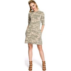 Sukienka Trapezowa o Linii A z Printem Moro Model 3. Szare sukienki dresowe Molly.pl, na co dzień, l, moro, trapezowe. Za 119,90 zł.