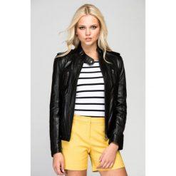 Kurtki damskie: Skórzana kurtka w kolorze czarnym