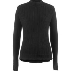 Swetry klasyczne damskie: Sweter ze stójką i strukturalnym wzorem bonprix czarny