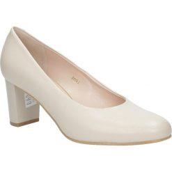 Beżowe czółenka ślubne skórzane na słupku Casu 3091/203. Brązowe buty ślubne damskie Casu, na słupku. Za 238,99 zł.