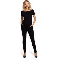 JORDAN Elastyczny gładki kombinezon - spodnium z krótkimi rękawami  - czarny. Czarne kombinezony damskie Moe, z krótkim rękawem, krótkie. Za 154,90 zł.