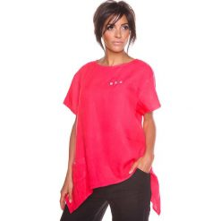 """Bluzki asymetryczne: Lniana koszulka """"Lev"""" w kolorze koralowym"""