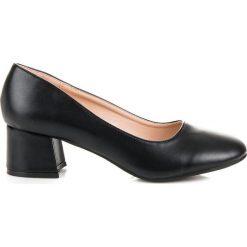 Buty ślubne damskie: Czarne czółenka na niskim obcasie RENDA Czarne