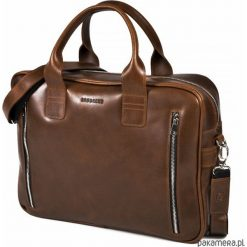 Skórzana torba na laptop na ramię Brodrene R02. Brązowe torby na ramię męskie marki Kazar, ze skóry, przez ramię, małe. Za 399,00 zł.