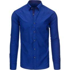 Koszule męskie: Niebieska koszula męska w paski z długim rękawem (dx1295)
