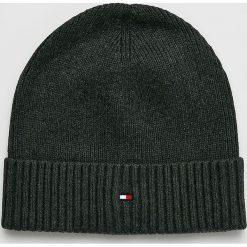 Tommy Hilfiger - Czapka. Czarne czapki zimowe męskie TOMMY HILFIGER, z bawełny. Za 119,90 zł.