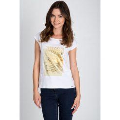 Bluzki damskie: Biała bluzka ze złotym printem QUIOSQUE