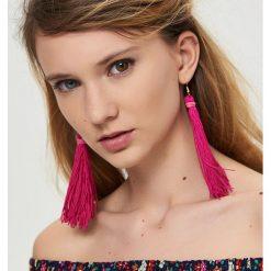 Kolczyki damskie: Długie kolczyki frędzle - Różowy