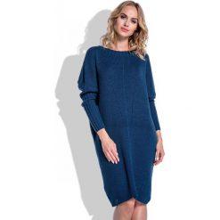 Granatowa Sukienka Sweter z Rękawem Kimono. Niebieskie sukienki dzianinowe Molly.pl, na co dzień, uniwersalny, w jednolite wzory, z dekoltem w łódkę, z długim rękawem, dopasowane. Za 120,00 zł.