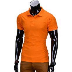 KOSZULKA MĘSKA POLO BEZ NADRUKU S715 - POMARAŃCZOWY. Zielone koszulki polo marki Ombre Clothing, na zimę, m, z bawełny, z kapturem. Za 39,00 zł.