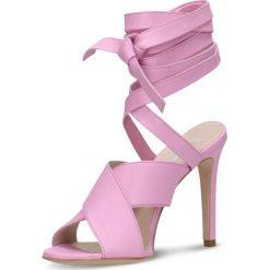 Sandały GINA. Fioletowe sandały trekkingowe damskie marki Gino Rossi, w paski, ze skóry, na wysokim obcasie, na szpilce. Za 99,90 zł.