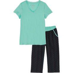 Piżama ze spodniami 3/4 bonprix niebieski mentolowy - czarny w kropki. Zielone piżamy damskie marki bonprix, w kropki. Za 54,99 zł.