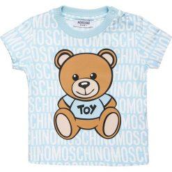 MOSCHINO BABY MAXI  Tshirt z nadrukiem skyblue. Niebieskie t-shirty chłopięce MOSCHINO, z nadrukiem, z bawełny. Za 209,00 zł.