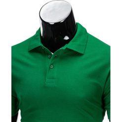 KOSZULKA MĘSKA POLO BEZ NADRUKU S715 - CIEMNOZIELONA. Zielone koszulki polo marki Ombre Clothing, na zimę, m, z bawełny, z kapturem. Za 39,00 zł.